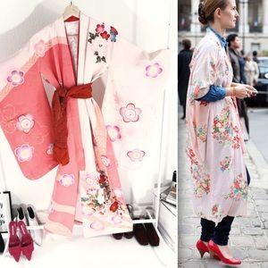Vintage peach with sakura kimono